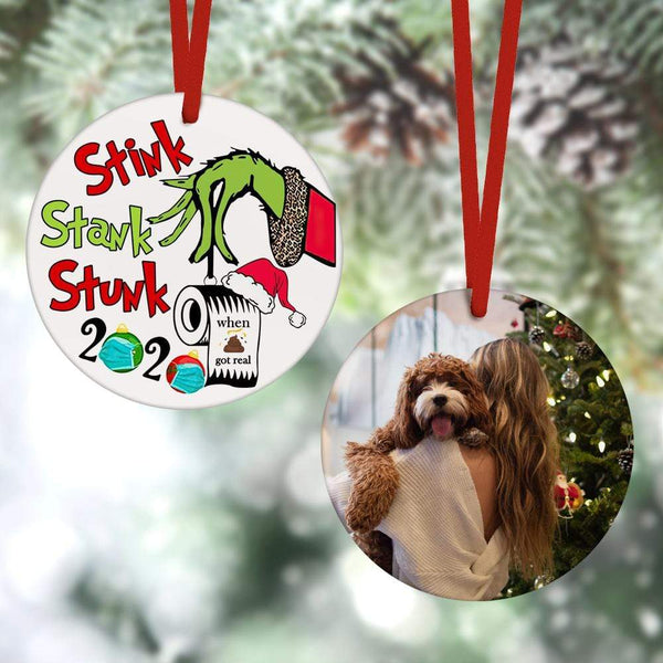 Custom Christmas Ornament Christmas Gifts 2 Sided - 2020 Stink Stank Stunk Grinch Hand(8cm x 8cm)