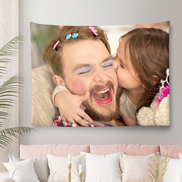 Father's Day Gift Custom Daddy Photo Tapestry Short Plush Wall Decor Fabric Painting Father's Day Gift