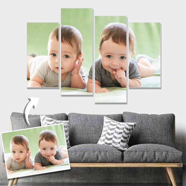 Custom Baby Photo Wall Decor Painting Canvas 4 pieces Without Frame