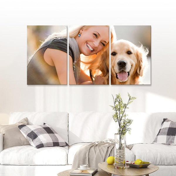 Custom Pet And Woman Photo Wall Decor Painting Canvas 3 Pieces Without Frame