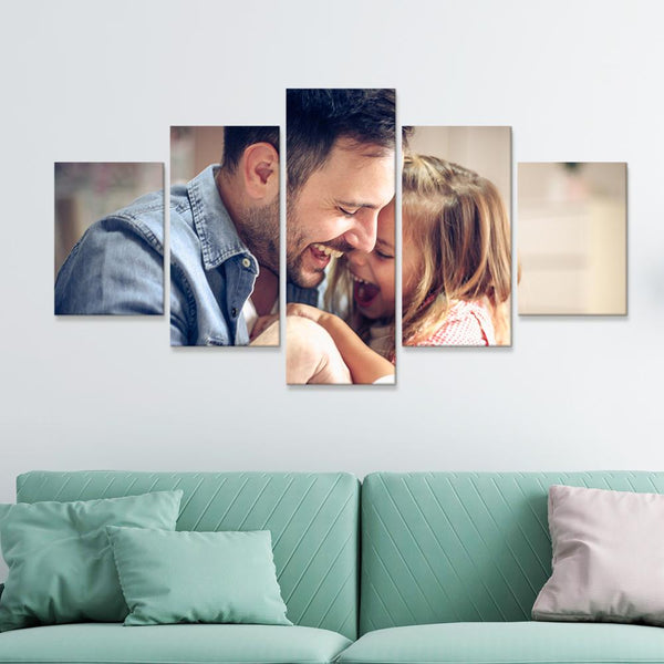 Custom Happy Family Photo Wall Decor Painting Canvas 5 Pieces Without Frame
