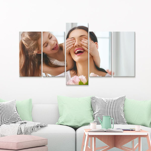 Custom Mother And Baby Photo Wall Decor Painting Canvas 5 Pieces Without Frame