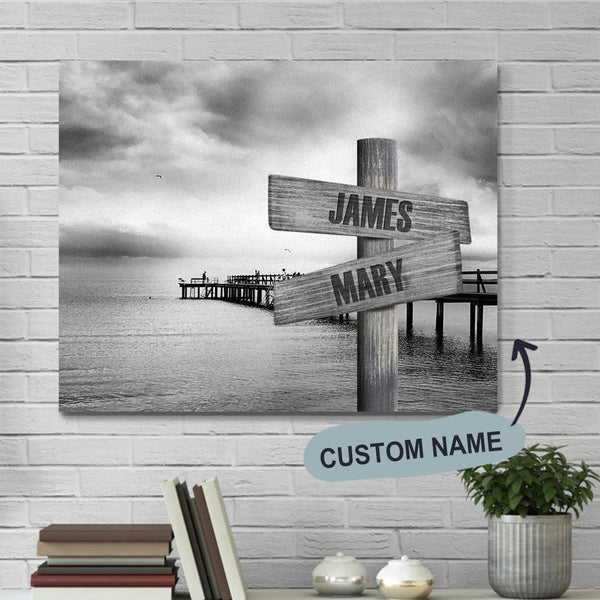 Father's Day Gift Custom Wall Decor Painting Canvas - Ocean Dock With Name