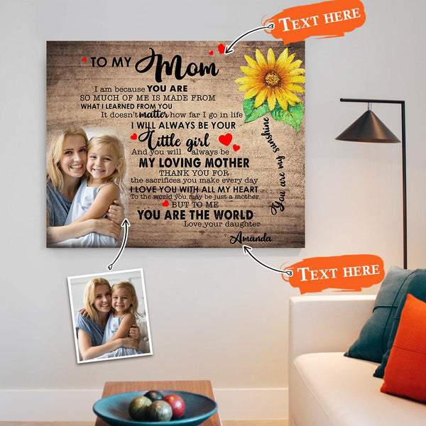 Custom Photo Wall Art Decor Personalized Name Painting Canvas Print Mother's Day Gift - To My Mom