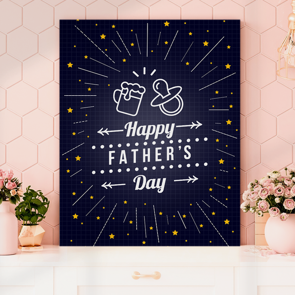 Happy Father's Day Vertical Painting Canvas-Nipple Painting Canvas