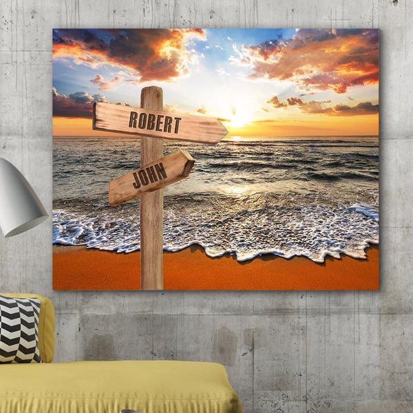 Custom Canvas Frame Personalizd Road Sign Canvas Frame-Seaside Road Sign Canvas Frame