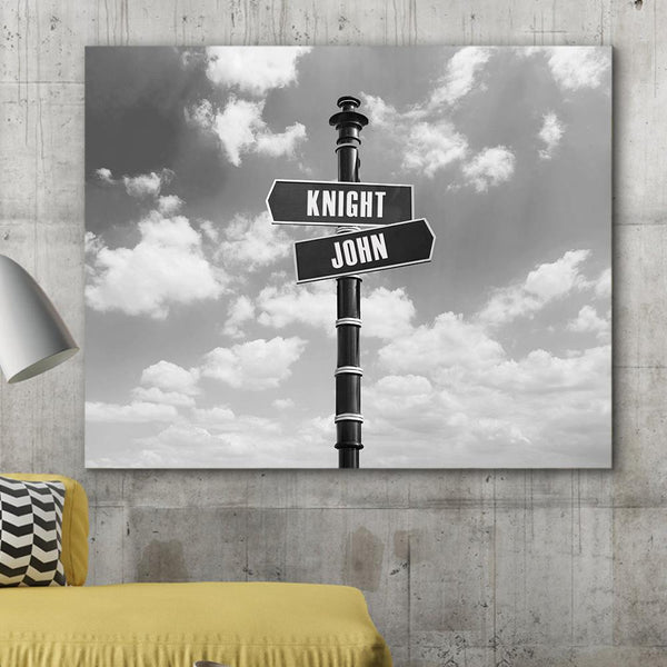 Custom Canvas Frame Personalizd Road Sign Canvas Frame-Sky Road Sign Canvas Frame
