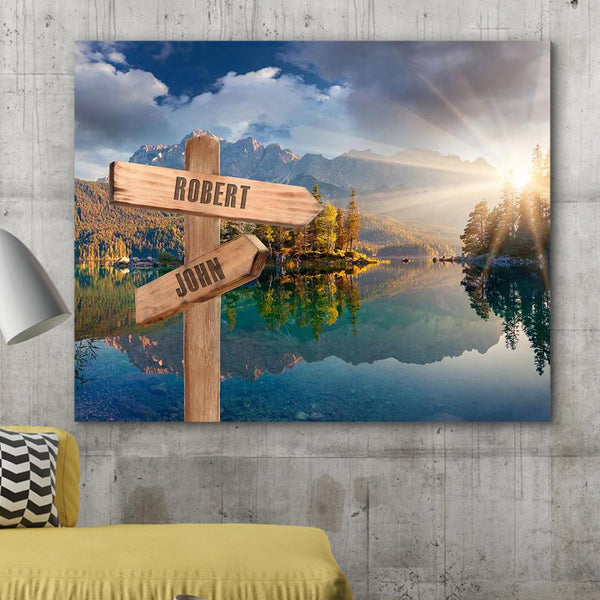 Custom Canvas Frame Personalizd Road Sign Canvas Frame-Landscape Road Sign Canvas Frame