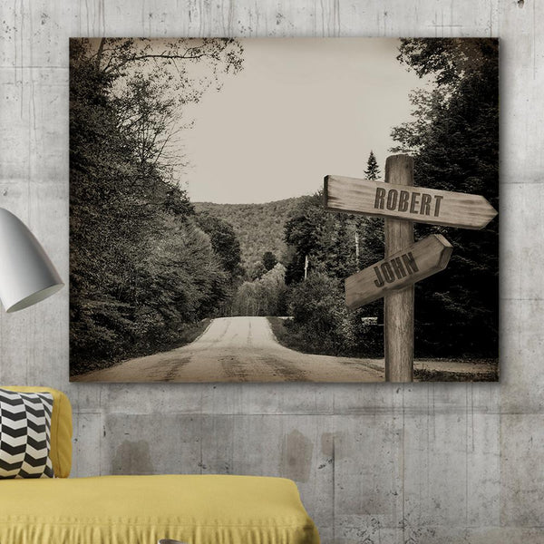 Custom Canvas Frame Personalizd Road Sign Canvas Frame-Forest Road Sign Canvas Frame