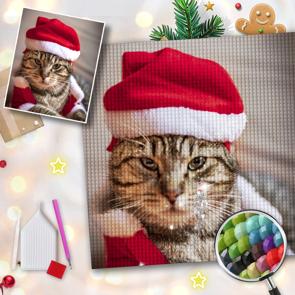 5D Diy Custom Christmas Cat Photo Diamond Painting