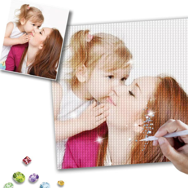 Custom Mother and Little Daughter Photo Full Square/Round Drill Diamond Painting