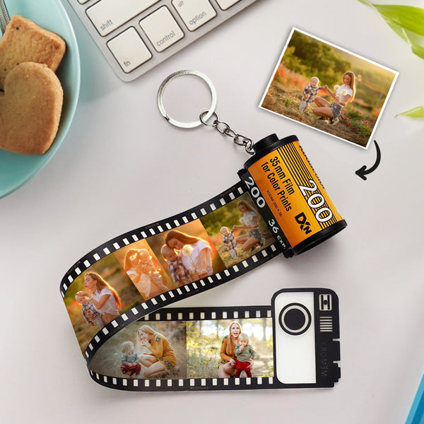 Father's Day Gift Custom Colorful Camera Roll Keychain - Father