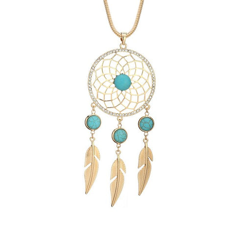 Collier Attrape Rêve Pierre Turquoise Or