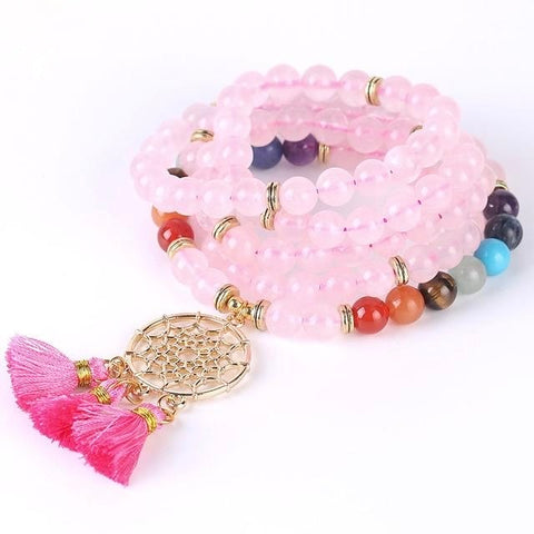 Bracelet Pierres Naturelles Attrape Rêve Quartz Rose