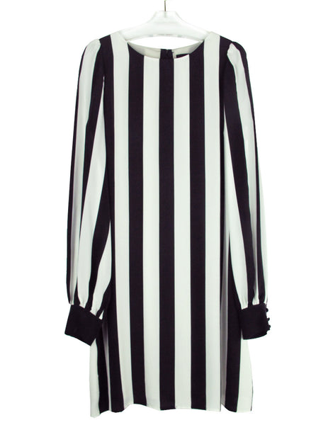 STRIPE PRINTED CREPE DE CHINE DRESS