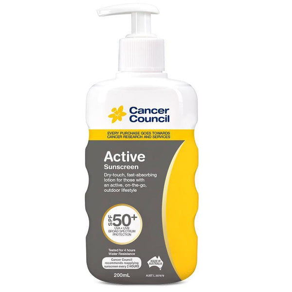 Cancer Council SPF 50+ Active 200ml Pump