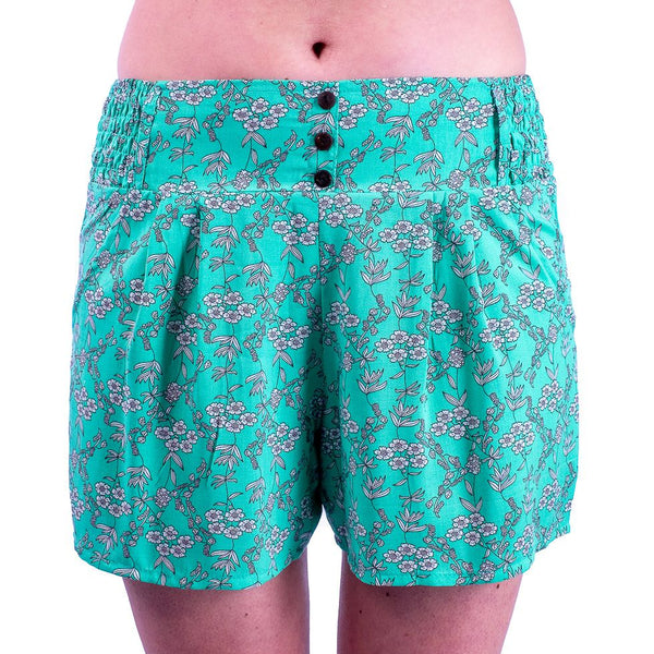 Featherweight Comfort wear Viscose (Rayon ) Floral Summer Shorts with Coconut Buttons - Ethnic-Tara