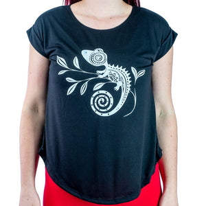 Chameleon Women Half Sleeves 100% Polyester T-Shirt. Ultra Soft Yoga Comfortable Jungle T shirt - Ethnic-Tara