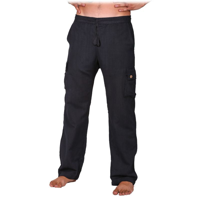 100% Cotton Men Black Color Pants. Summer Wear Loose Fitting Boho Trousers, Hippie, Comfortable Pant - Ethnic-Tara