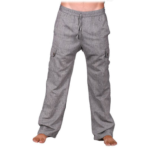 100% Cotton Men Gray Color Pants || Summer Wear Loose Fitting Boho Trousers, Hippie,| Comfy Loose Fitting Pants - Ethnic-Tara