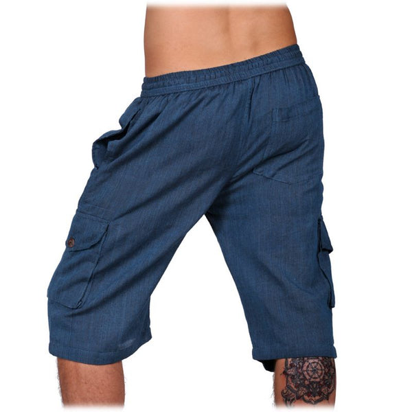 100% Cotton Summer Trunks Blue Color Boho Comfy Hippie Short Pants. Festival Ethno style Short - Ethnic-Tara