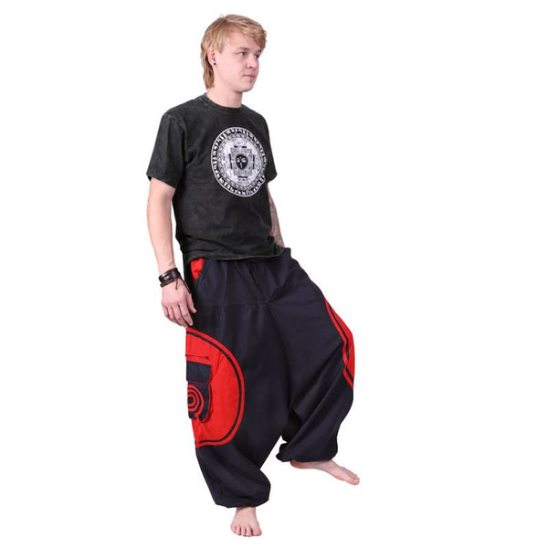 100% Cotton Men Red Alibaba Trousers Harem Pants. Hippie Aladdin Ethno for Boho Festival Look - Ethnic-Tara