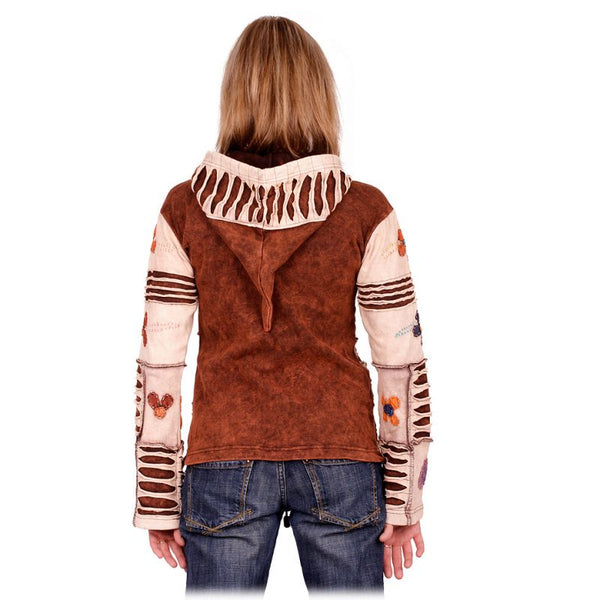 Fair Trade Ethnic Razor cut Cotton Jacket for summer evenings or autumn. Nepalese Handmade. Hooded kangaroo jacket - Ethnic-Tara