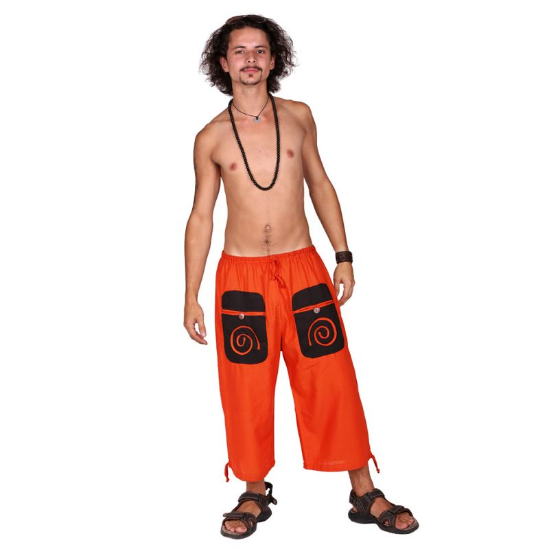 100% Cotton Summer  Spiral Orange Color Boho Comfy Hippie Short Pants. Festival Ethno style Short - Ethnic-Tara