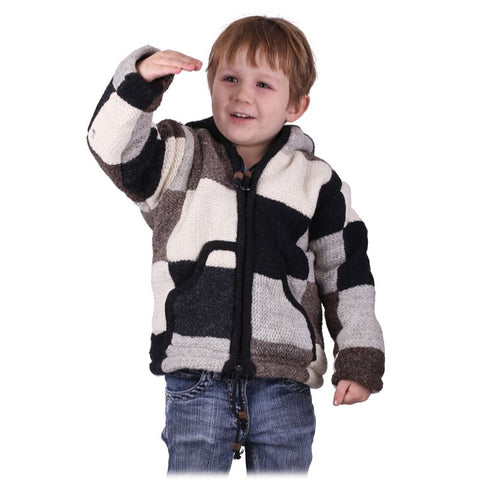 100% Sheep wool Hand Knitted with Fleece Lining Pullover Sweater Children & Toddlers. Winter wear - Ethnic-Tara