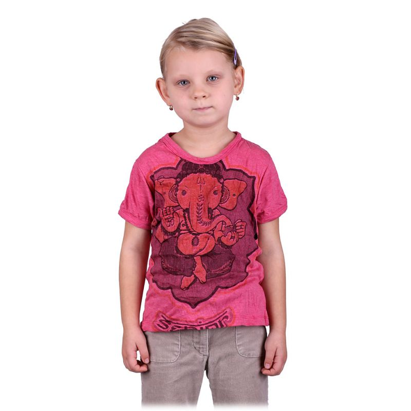 100% Cotton Children Tees with Ganesha / Elephant God Motif. Child Festival Hand Printed T-Shirt - Ethnic-Tara