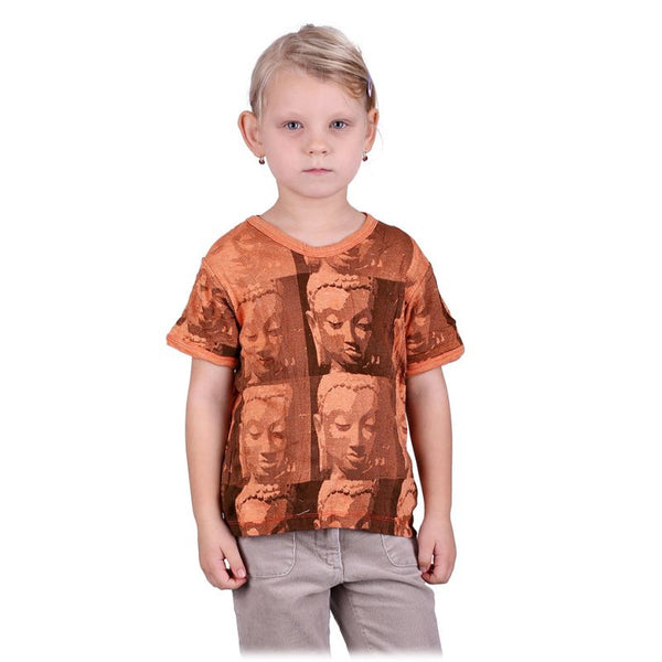 100% Cotton Children Tees with Buddha Motif. Child Festival Hand Printed T-Shirt. Hippie Babies - Ethnic-Tara
