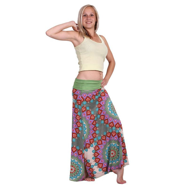 Ankle Length Skirt Pencil Big Mandala for Tall women, Ladies with long height, Psychedelic Slit Boho - Ethnic-Tara