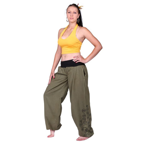 100% Cotton Floral Pattern Embroidery Trousers Festivals, Pregnant Ladies, Yoga, Daily Wear Pant - Ethnic-Tara