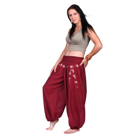 Maroon 100% Cotton Floral Pattern Embroidery Trousers Festivals, Yoga Daily Wear Pants - Ethnic-Tara