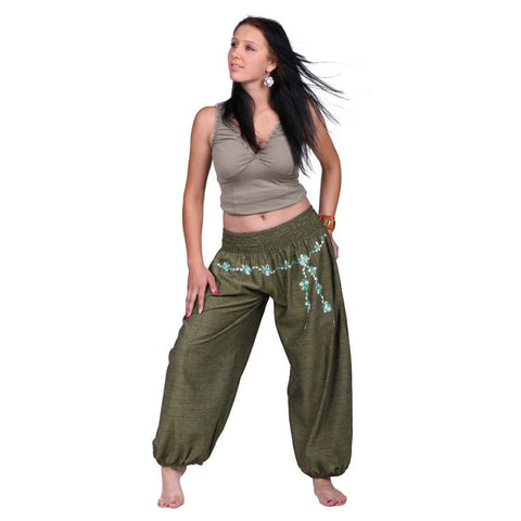 Green 100% Cotton Floral Pattern Embroidery Trousers Festivals, Yoga Daily Wear Pants - Ethnic-Tara
