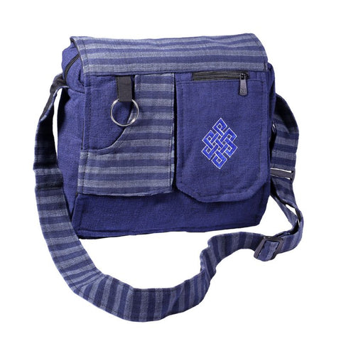 Never Ending Knot Multi Pocket 100% Cotton Handmade Nepal, Boho Ethno Elegant Bag - Ethnic-Tara