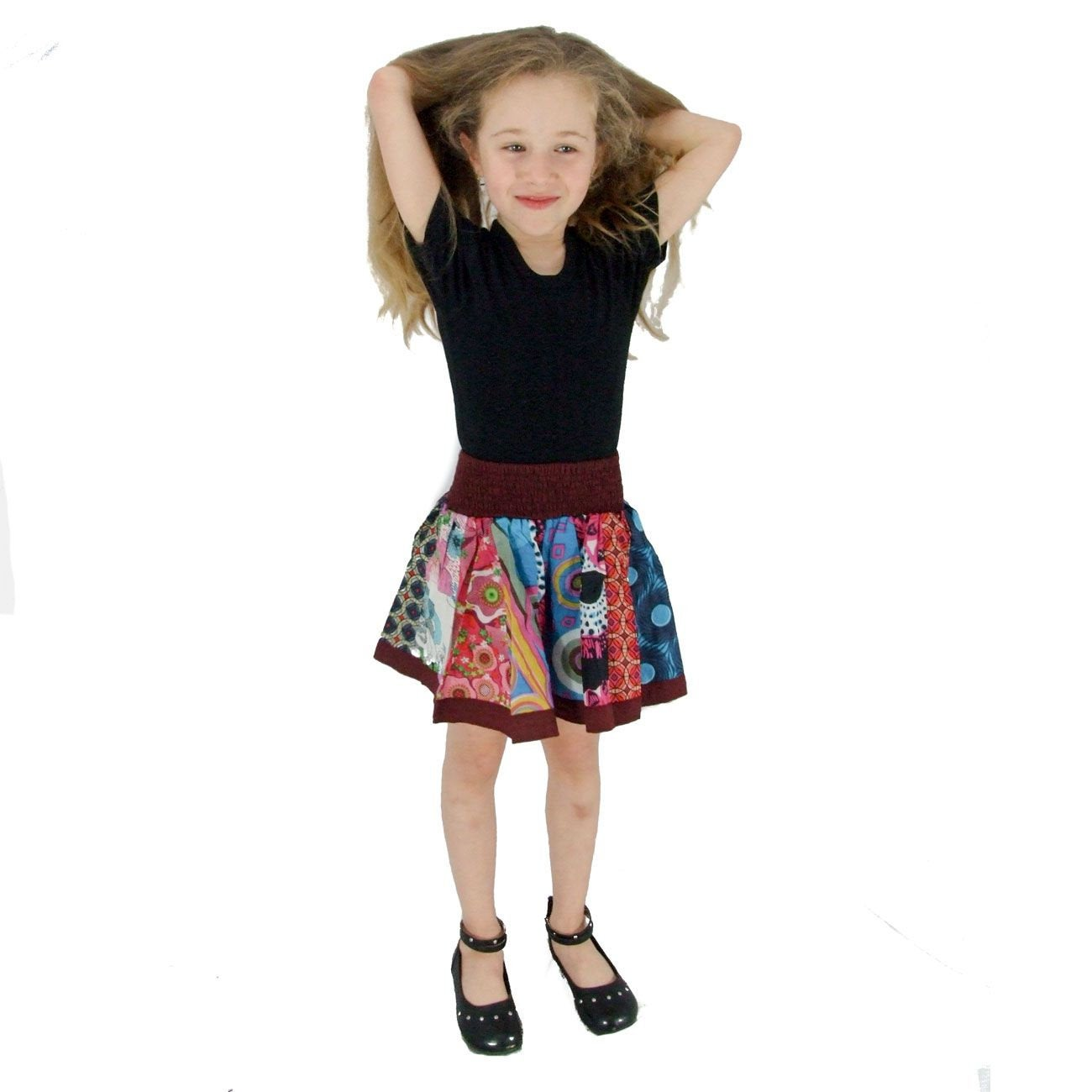 100 % soft Cotton Short Wine Red Color baby Girl Skirt. Gift Fairtrade. Toddler Skirt. Summer Skirt - Ethnic-Tara