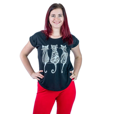 Three Cats Women Half Sleeves T-Shirt Cat Tees. T shirt Ultra Soft Women Tees Yoga Comfortable - Ethnic-Tara