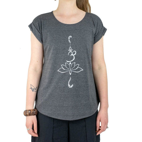 Buddha Lotus Flower Om Half Sleeves T Shirt of Aum Yoga Tees. T-shirt. Soft Tees - Ethnic-Tara