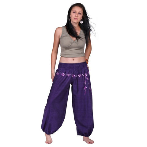 Purple 100% Cotton Floral Pattern Embroidery Trousers Festivals, Yoga, Daily Wear Pants - Ethnic-Tara