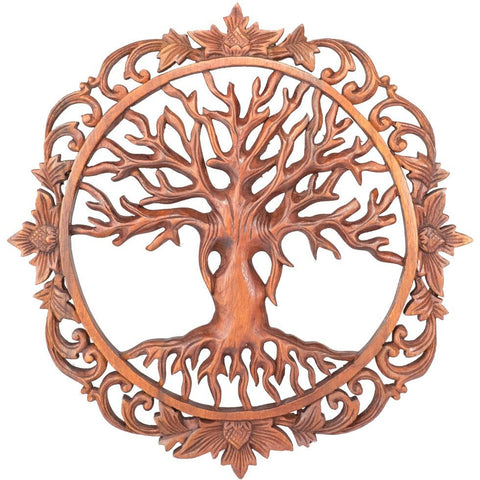 Hand Carved Teak Wood Tree of Life Wall Sculpture. Buddhism. Garden Celtic Decor Healing - Ethnic-Tara