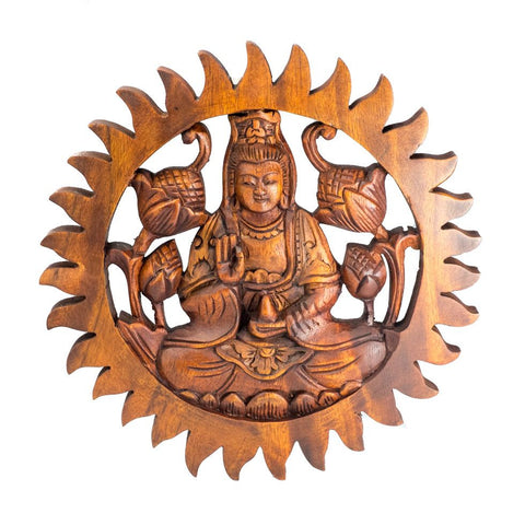 Hand Carved Teak Wood Abhaya Buddha Mudra Wall Sculpture || Buddhism || Wall Hanging || Celtic | Home Decor || Healing || Surya Sculpture - Ethnic-Tara