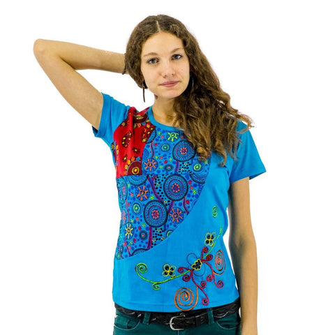 Hand Crafted Floral Festival Design Ladies T Shirt of Nepalese 100 % Cotton Alternative Tees - Ethnic-Tara