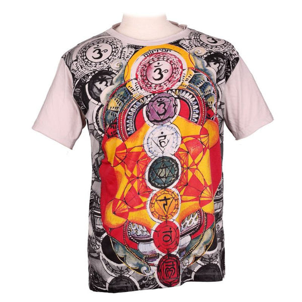 Seven Chakras & Om Psychedelic 100%  Cotton Spiritual Tees for Daily Wear, Yoga, Summer Wear T Shirt - Ethnic-Tara