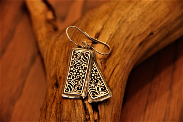 Rectangular Feathers - 925 Sterling Silver Tribal Earrings Jewelry oxidized to Rustic Vintage Grey. - Ethnic-Tara
