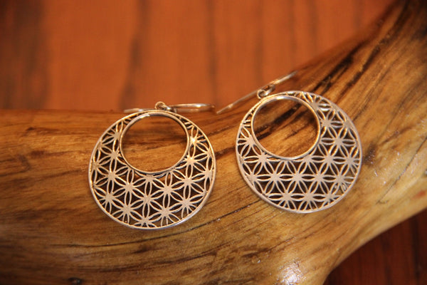 925 Sterling Silver Tribal Earrings Jewelry oxidized to Vintage Finish. Symmetrical flowers Pattern - Ethnic-Tara