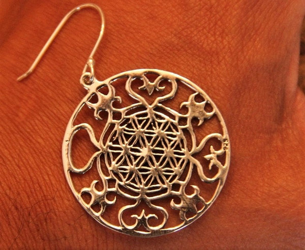 Roaming Hearts Flower of life 925 Sterling Silver Tribal Earrings oxidized to Rustic Vintage Finish - Ethnic-Tara