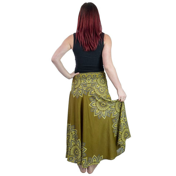 Green Skirt Beach Dress Boho Clothing Skirt with Mandala. Ankle High Skirt and Belt Daily Wear Skirt - Ethnic-Tara