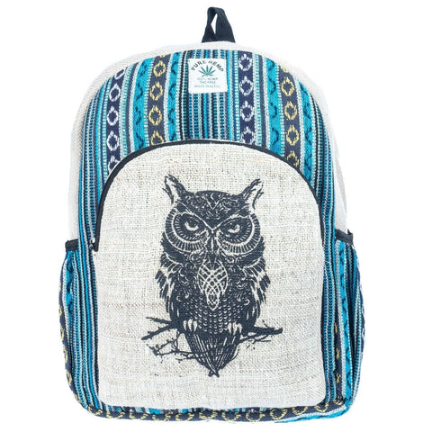 Awaken Owl in the Jungle - Handmade Hemp Nepalese Backpack. THC Free Bag - Ethnic-Tara
