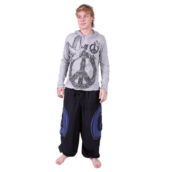 100% Cotton Men Blue Alibaba Trousers Harem Pants. Hippie Aladdin Ethno for Boho Festival Look - Ethnic-Tara
